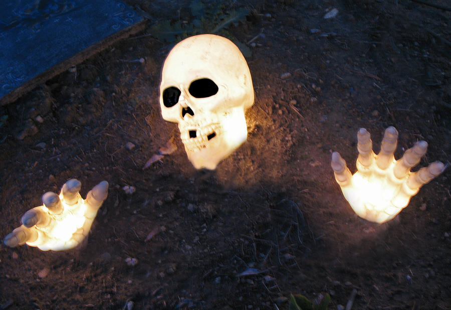 Skull and Skeleton Hands lit by WDWParksGal-Stock