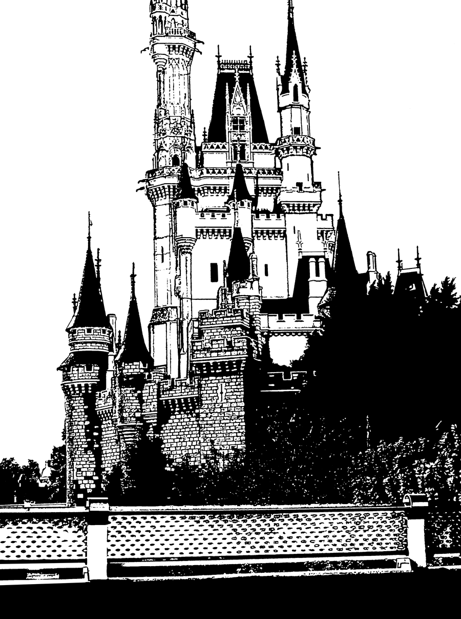 cinderella castle outline by wdwparksgal