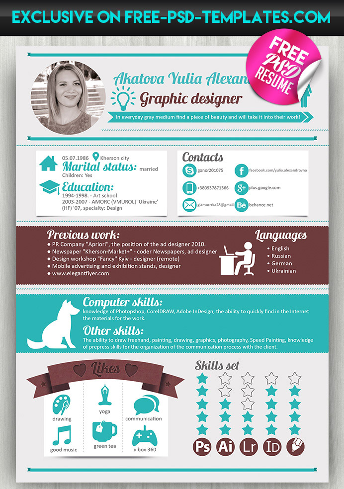 resume designer free resume cv template 2015 by free psd templates