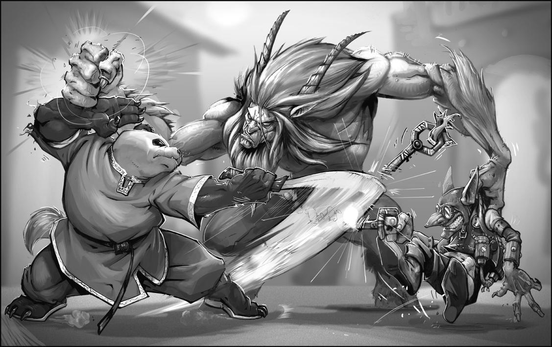 WoW RPG - Pandaren vs Satyr by joverine