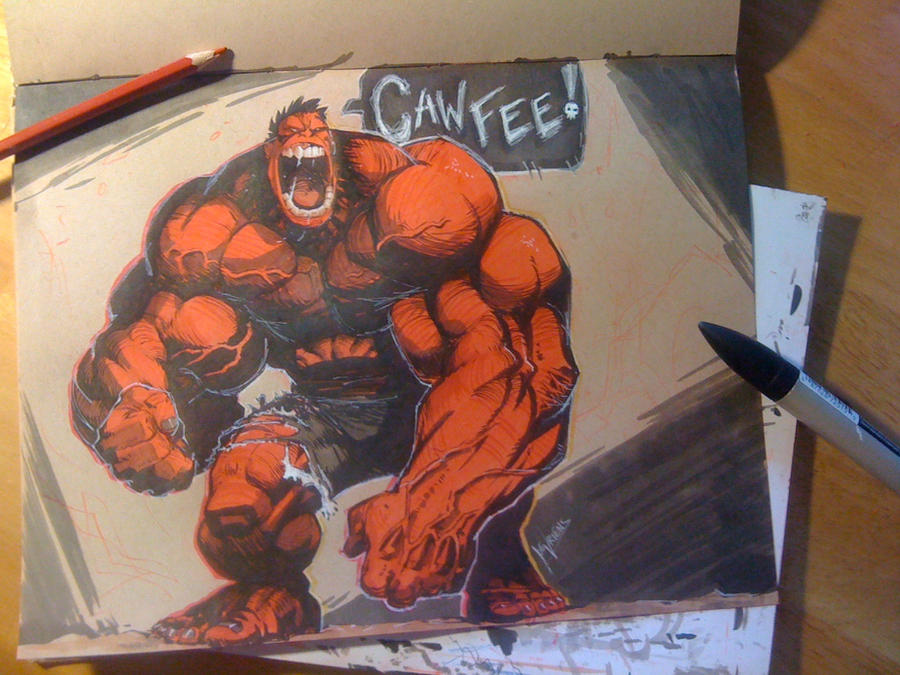 Red Hulk CAWFEE sketch by joverine