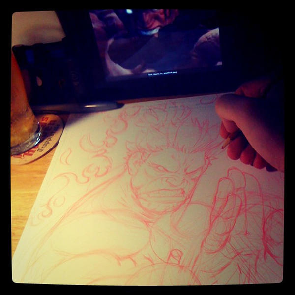 Shin Akuma pencil wip by joverine