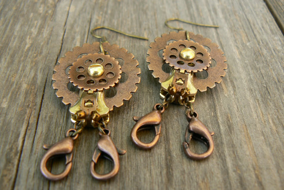 Ode To Introverts-Steampunk Hermit Crab Earrings by deathbysunset