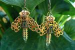 Nightlight - Steampunk Firefly Zipper Earrings