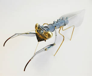Steampunk Praying Mantis Sculpture-Second Photo by deathbysunset