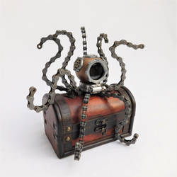 Steampunk Octopus in Diver's Helmet by deathbysunset