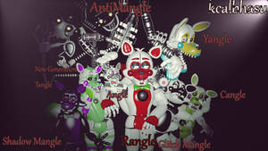 All Custom Mangles and Funtime Foxys of UFNaF