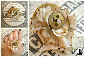 Steampunk ring in white and gold