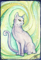 Green Vortex Cat ATC by starwoodarts
