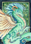 Green Embellished Dragon ACEO
