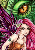 Fae and Dragons series, ACEO 2 by starwoodarts