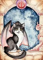 Dragon Winged Cat by starwoodarts