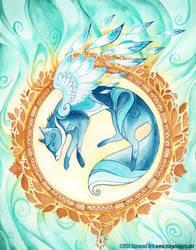 Blue Spirit Fox by starwoodarts