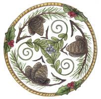 Mistletoe and Pine Trisk by Spiralpathdesigns