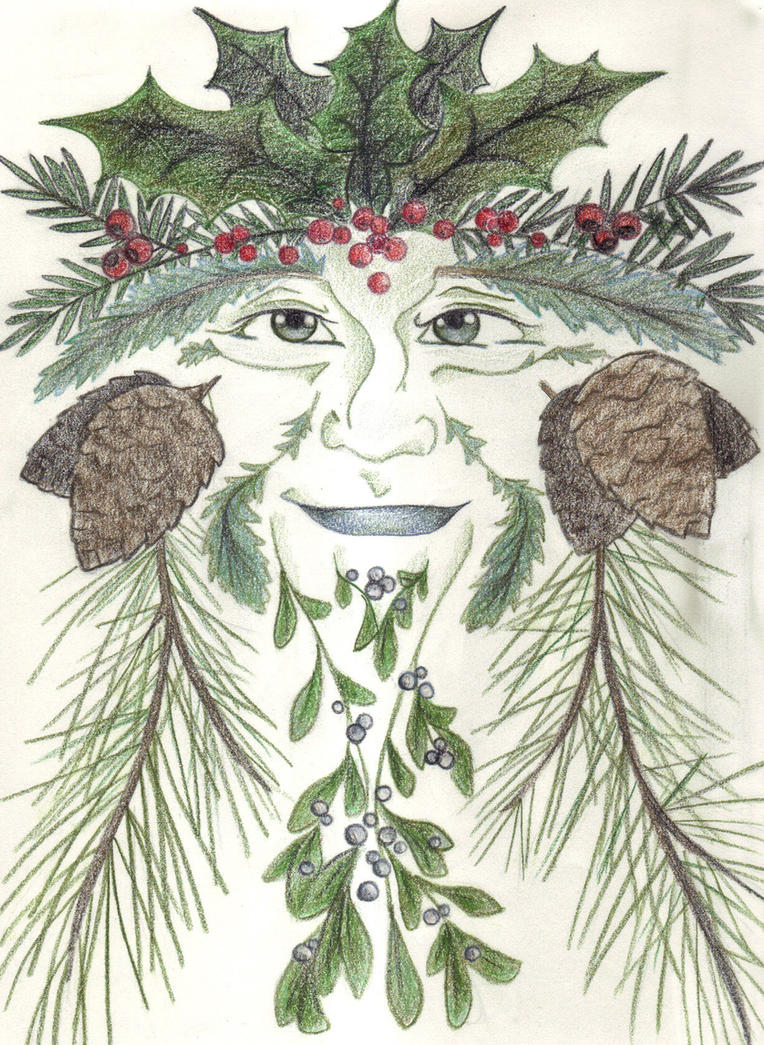 Holiday Greenman by Spiralpathdesigns