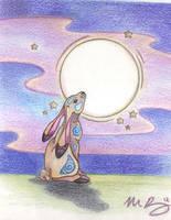 Moon Gazing Hare by Spiralpathdesigns