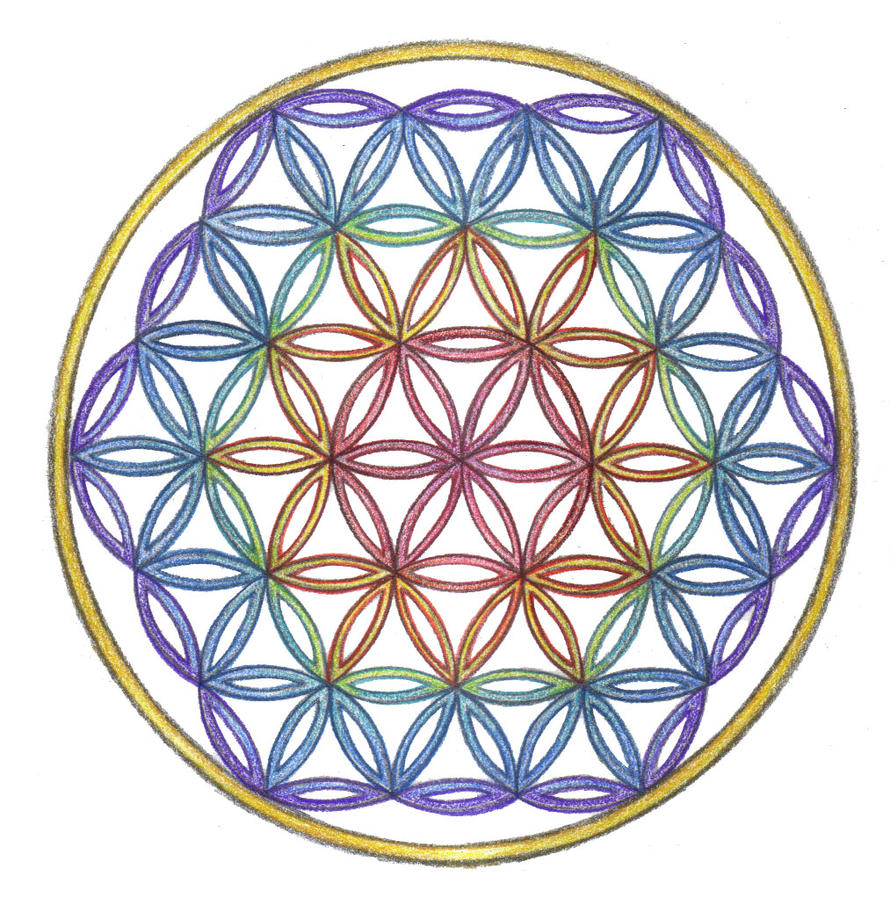Coloring Flower Of Life : Rainbow chakra flower of life by spiralpathdesigns on