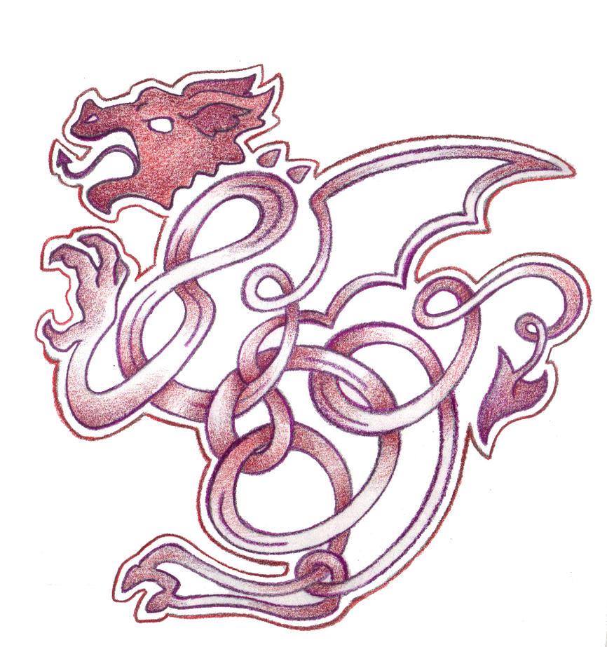 Celtic Dragon  (Y Ddraig Goch) by Spiralpathdesigns