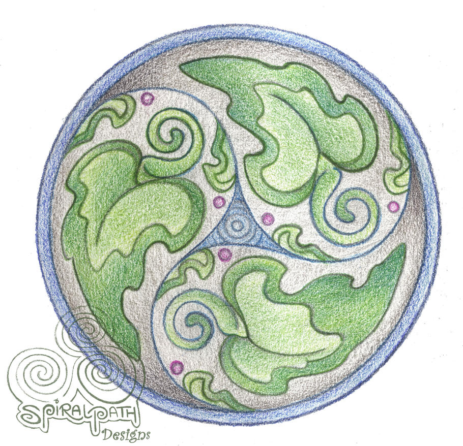 Green leaf Triskel by Spiralpathdesigns