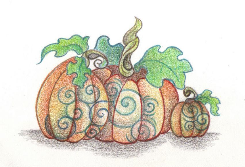 Three Pumpkins by Spiralpathdesigns