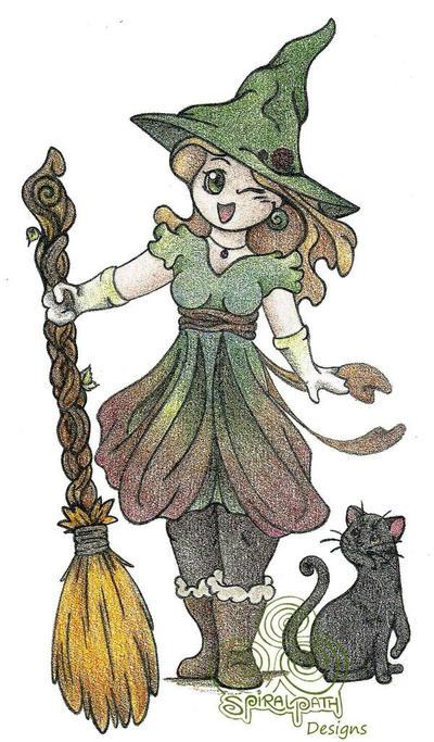 Chibi Green Witch by Spiralpathdesigns