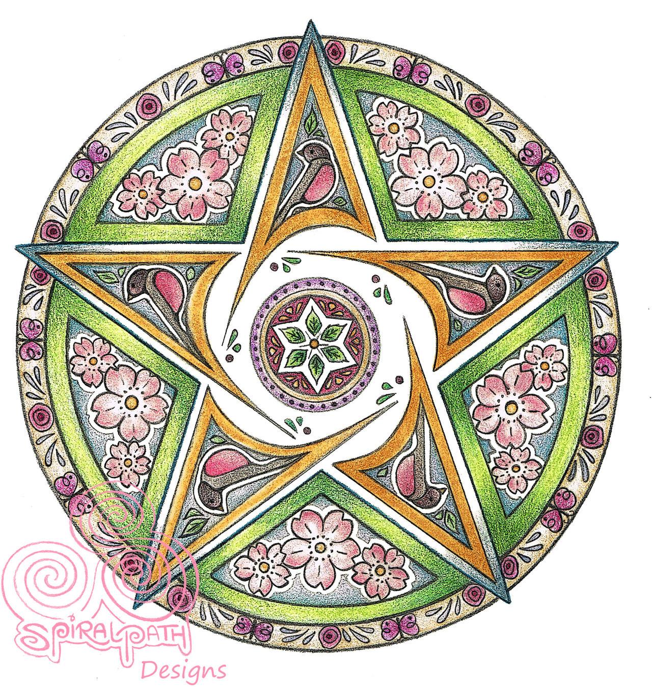 Spring Pentacle Mandala by Spiralpathdesigns