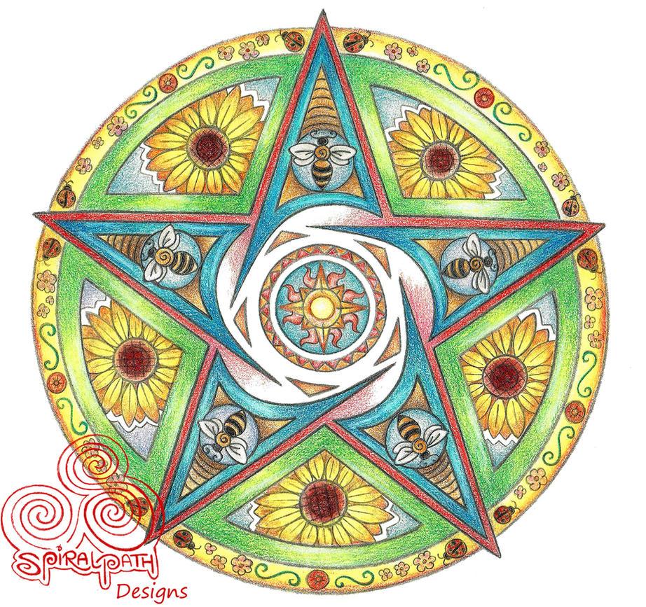 Summer Pentacle Mandala by Spiralpathdesigns