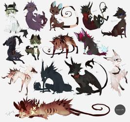 All of my current animal ocs by Maviete