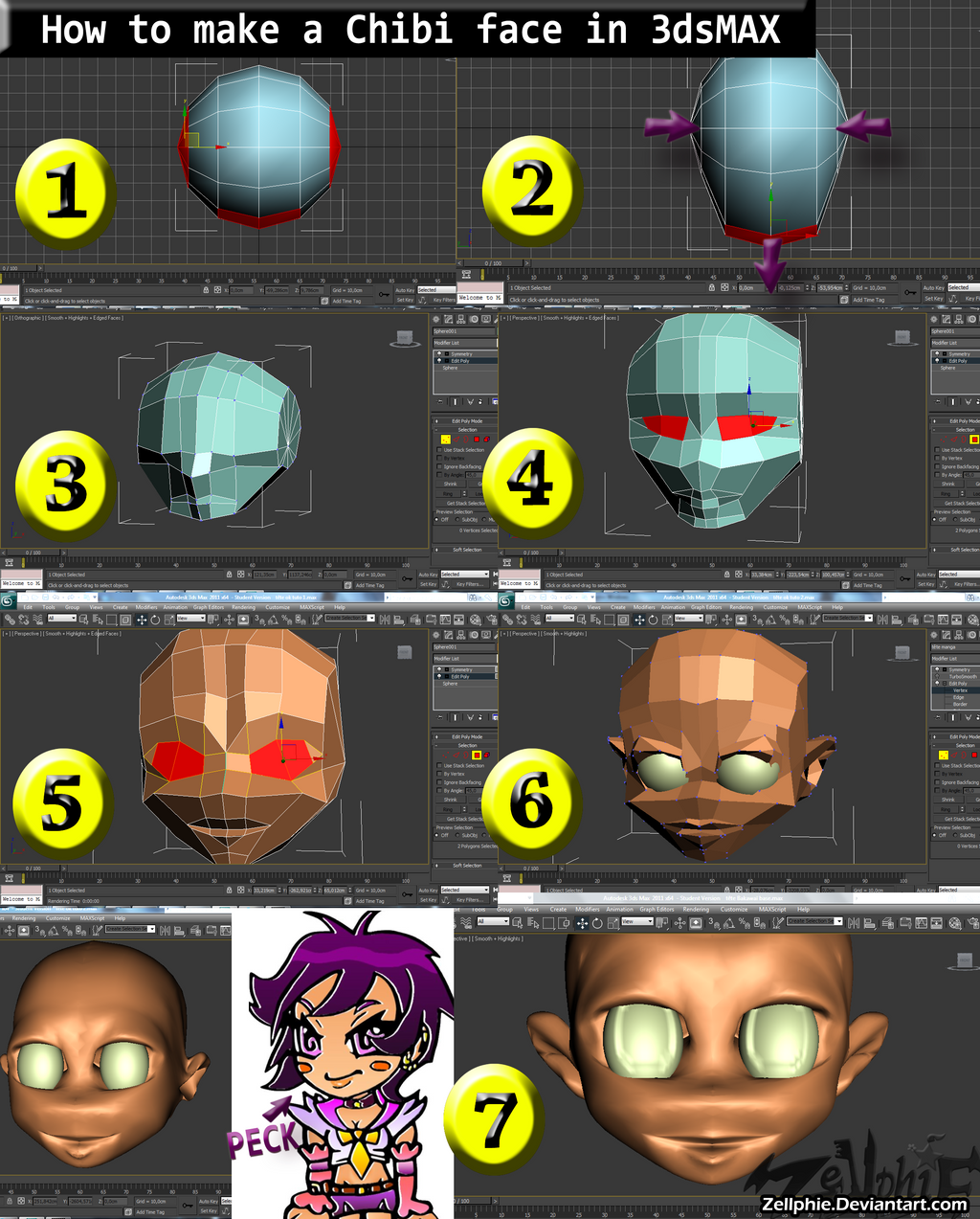 How to make a chibi face in 3ds max by zellphie on deviantart for 3ds max face modeling