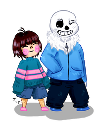 Sans and Frisk by xChompers