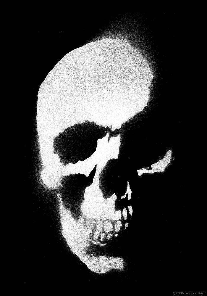 Graffiti Stencils Skull Skull Stencil - Inverted