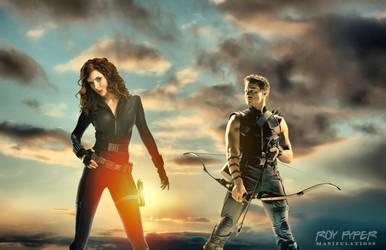 Black Widow and Hawkeye: HDR Edit by nerdboy69