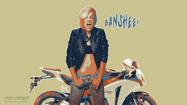 Biker Babe: Posterize Desktop Edit by nerdboy69