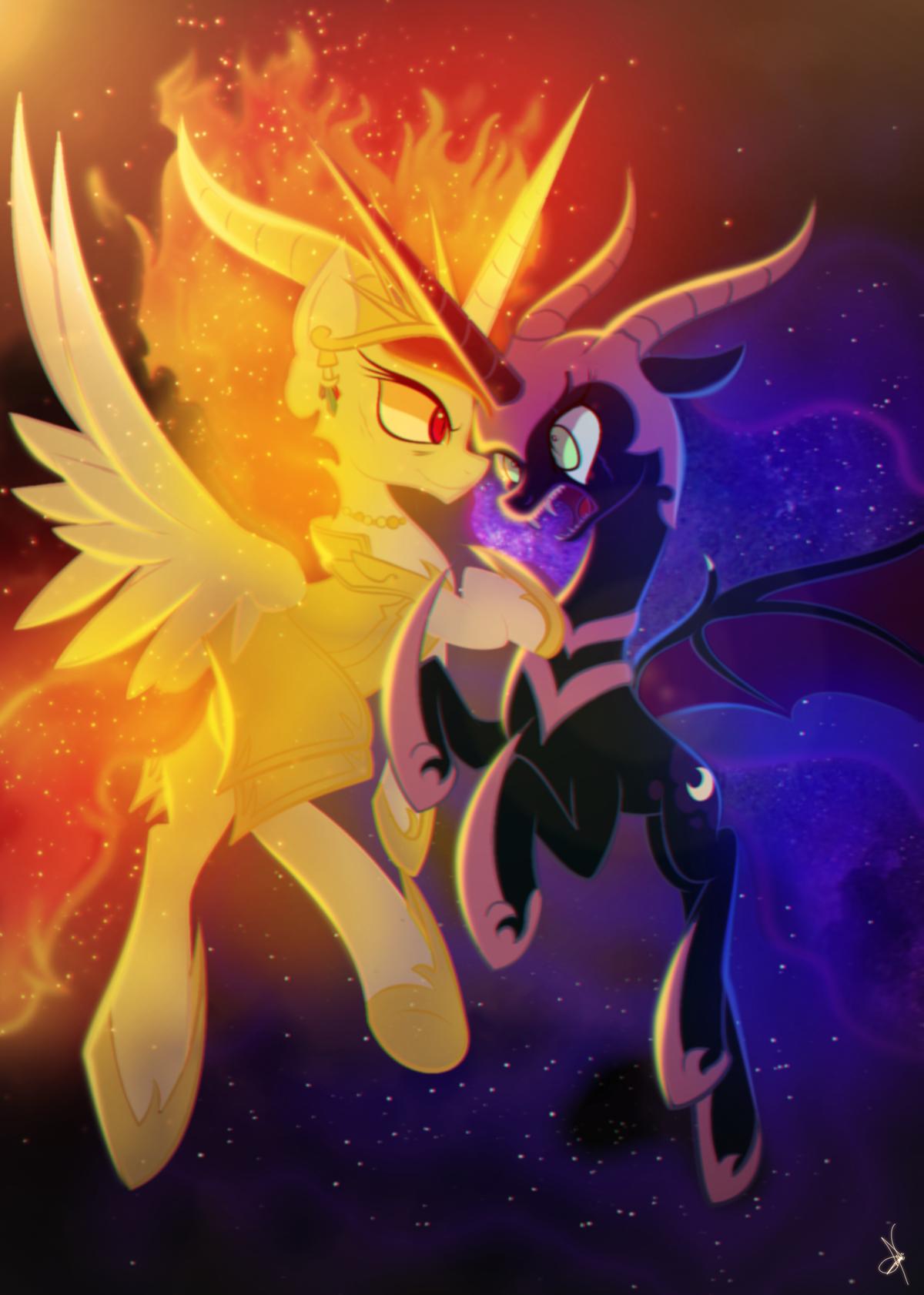 Daybreaker Vs Nightmare Moon, Celestial Battle by ZidaneMina