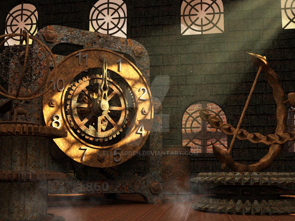 Steampunk Clock Background by Elle-Arden