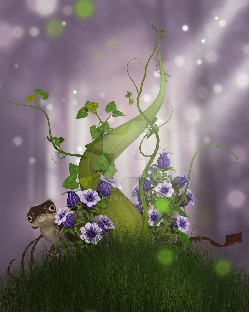 Beanstalk Background with dragon by Elle-Arden