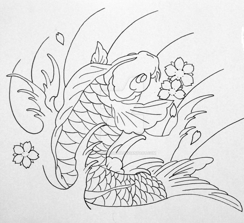 Line Drawing Koi Fish : Koi line drawing by manny negron on deviantart