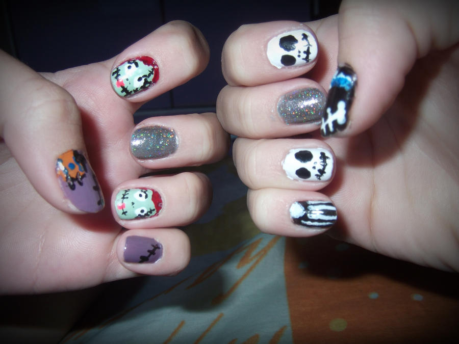 Jack and Sally Nails by xxAliicexx on DeviantArt