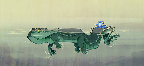 Croc and toad by iktis