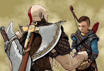 God of War Kratos and Atreus by ArtOfI-Icy
