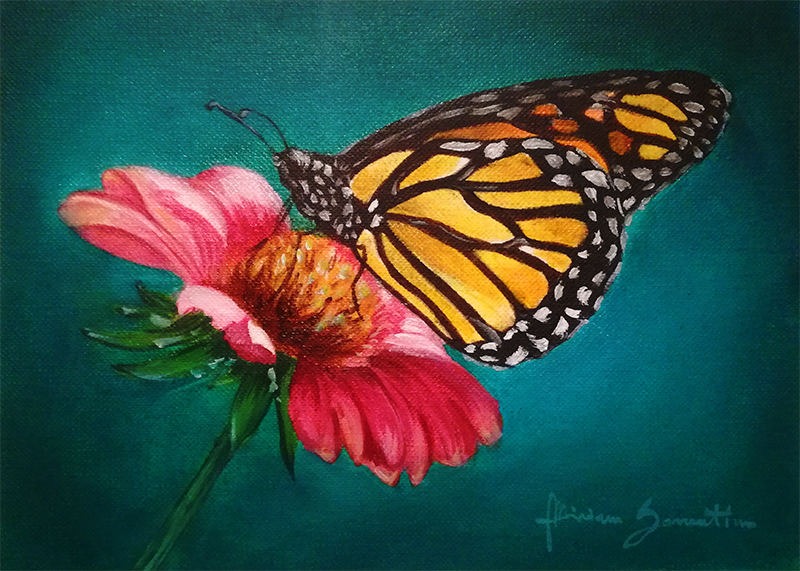 butterfly on a flower oil painting by niruh on deviantart