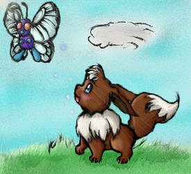 Eevee and Butterfree by thekoolkyogre
