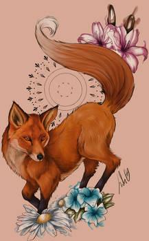 Spring fox [Tattoo Design]