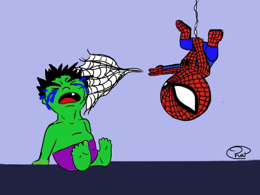 baby hulk and spiderman by pradaninja