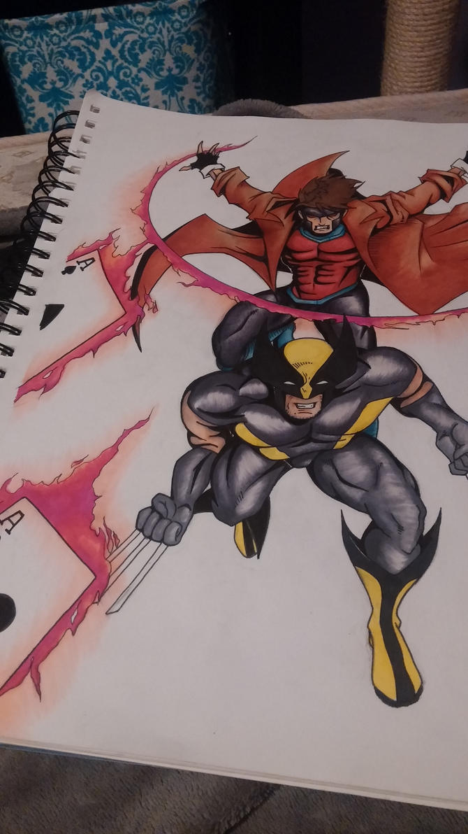 Gambit and Wolverine comission WIP by Sew-What