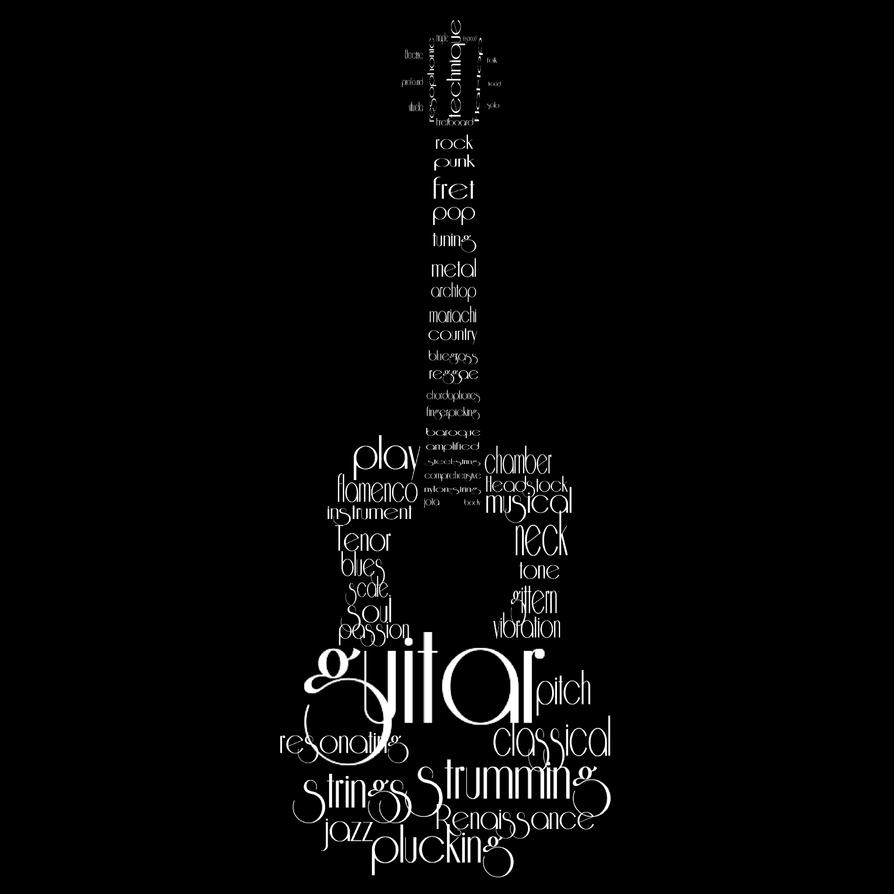 Guitar Wordcloud by LS-Coloringlife