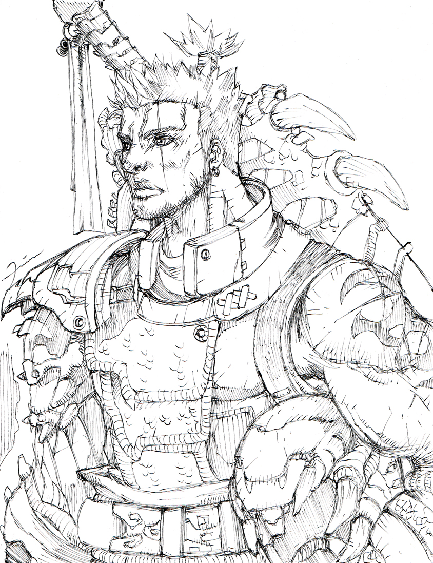 Monster Hunter hunter sketch by darkeyez07