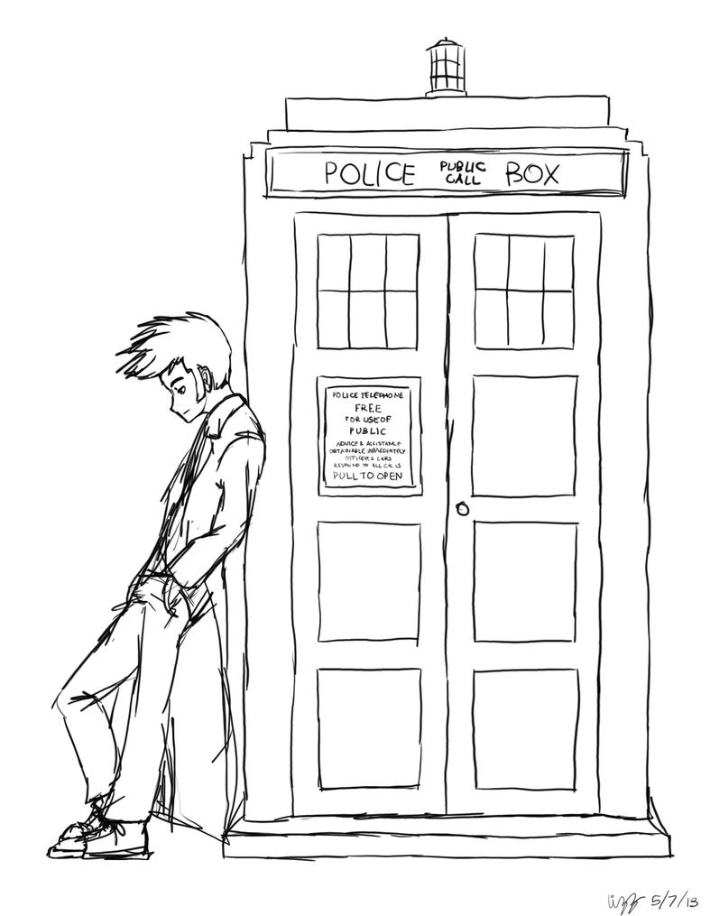 Ten leaning on tardis by lizzyoli ravioli on deviantart for Tardis coloring pages