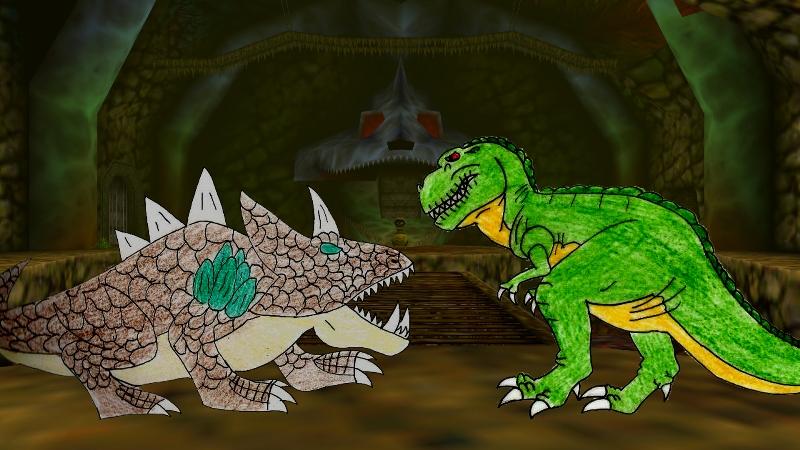 Sharptooth vs King Dodongo by Animedalek1
