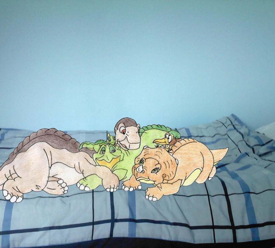 Littlefoot and co on my bed again by Animedalek1